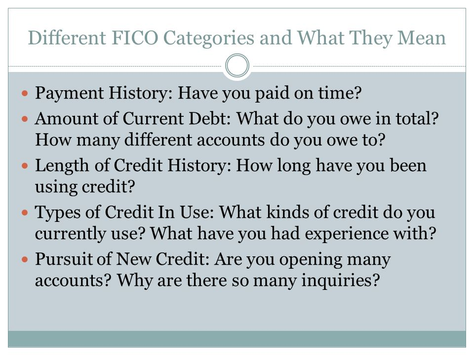 Different FICO Categories and What They Mean Payment History: Have you paid on time.