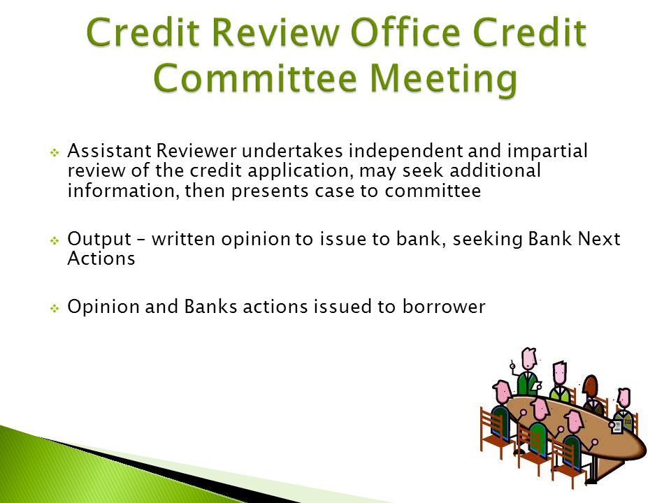 Assistant Reviewer undertakes independent and impartial review of the credit application, may seek additional information, then presents case to committee Output – written opinion to issue to bank, seeking Bank Next Actions Opinion and Banks actions issued to borrower