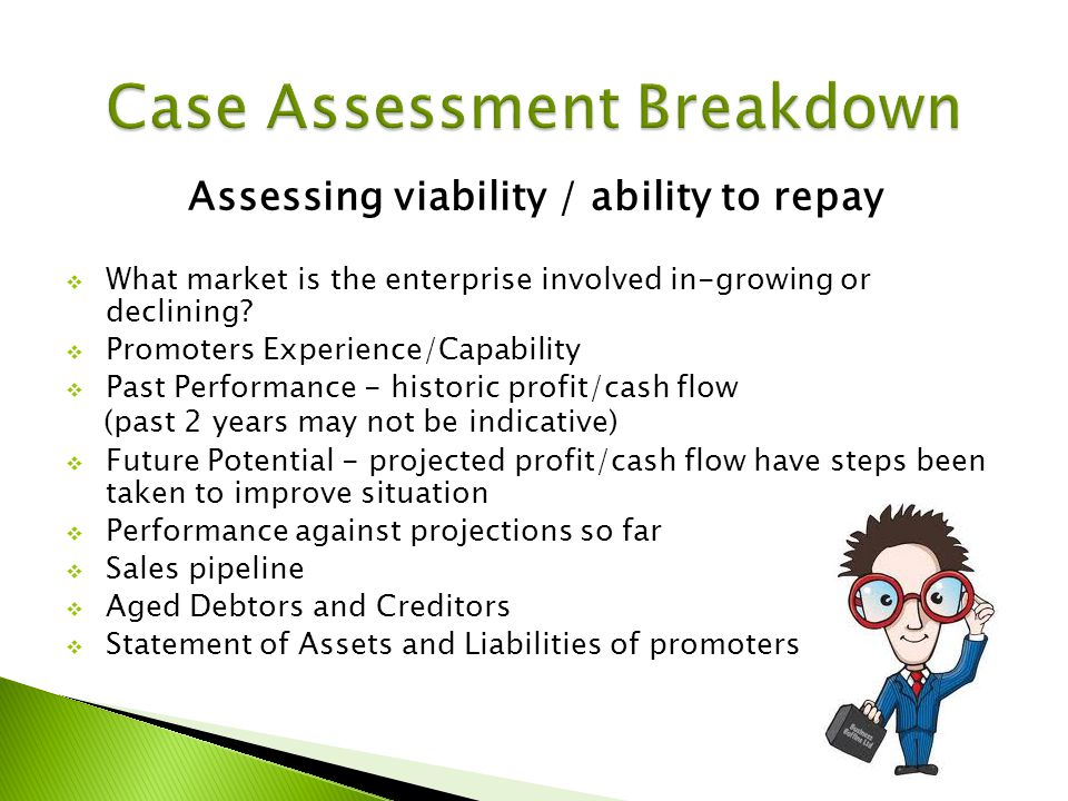 Assessing viability / ability to repay What market is the enterprise involved in-growing or declining.