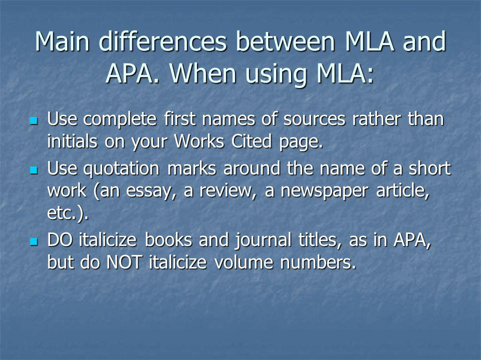 what is the difference between mla and apa