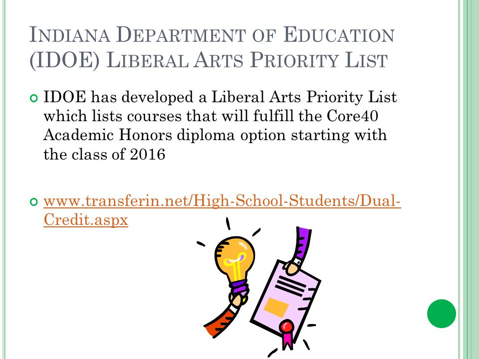 I NDIANA D EPARTMENT OF E DUCATION (IDOE) L IBERAL A RTS P RIORITY L IST IDOE has developed a Liberal Arts Priority List which lists courses that will fulfill the Core40 Academic Honors diploma option starting with the class of 2016 www.transferin.net/High-School-Students/Dual- Credit.aspx www.transferin.net/High-School-Students/Dual- Credit.aspx