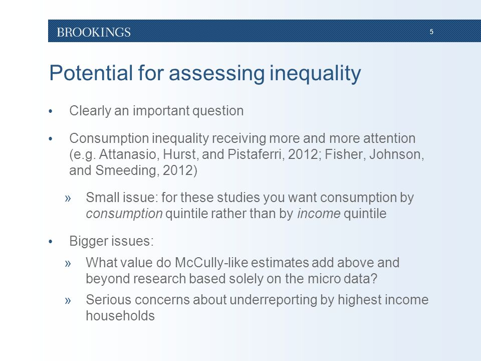 5 Potential for assessing inequality Clearly an important question Consumption inequality receiving more and more attention (e.g.