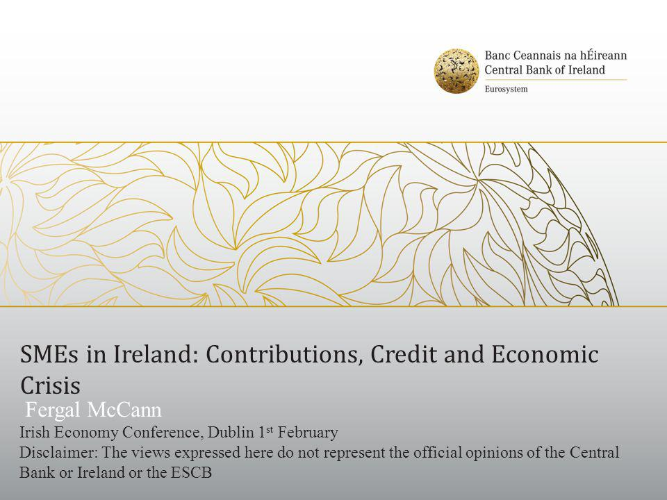 SMEs in Ireland: Contributions, Credit and Economic Crisis Fergal McCann Irish Economy Conference, Dublin 1 st February Disclaimer: The views expressed here do not represent the official opinions of the Central Bank or Ireland or the ESCB
