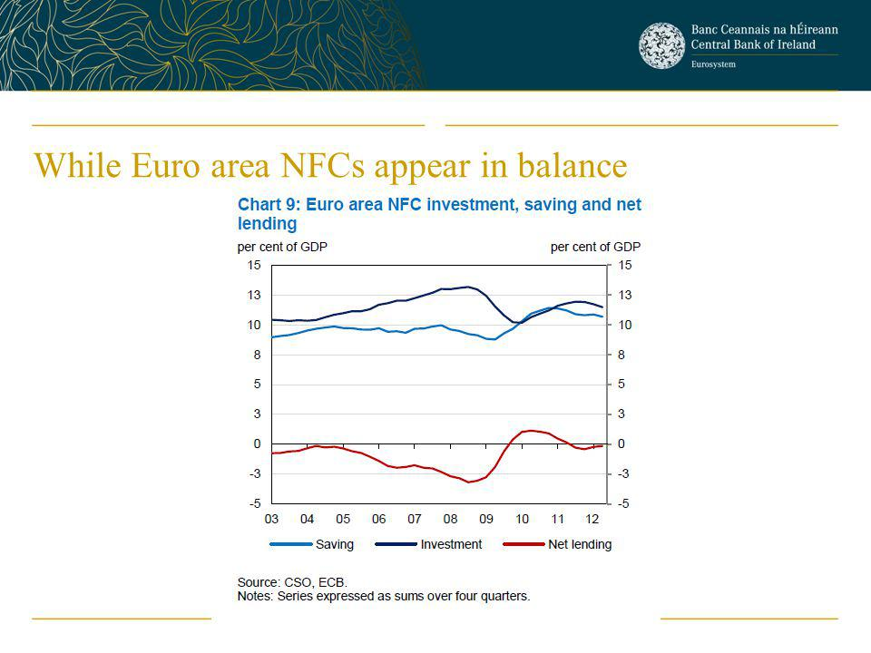 While Euro area NFCs appear in balance