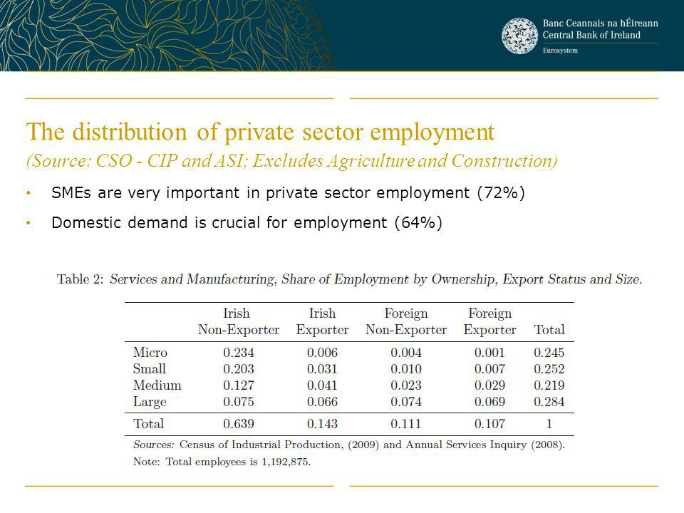 The distribution of private sector employment (Source: CSO - CIP and ASI; Excludes Agriculture and Construction) SMEs are very important in private sector employment (72%) Domestic demand is crucial for employment (64%)