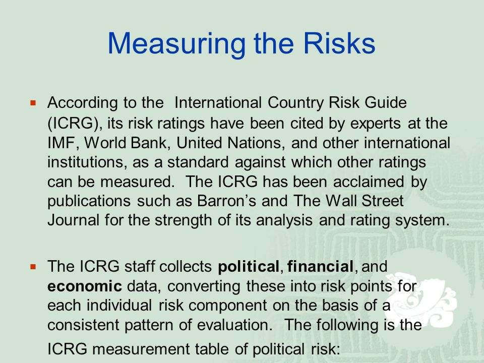 ICRG POLITICAL RISK COMPONENTS SequenceComponentPoints (max.) AGovernment Stability12 BSocioeconomic Conditions12 CInvestment Profile12 DInternal Conflict12 EExternal Conflict12 FCorruption6 GMilitary in Politics6 HReligious Tensions6 ILaw and Order6 JEthnic Tensions6 KDemocratic Accountability6 LBureaucracy Quality4 Total100