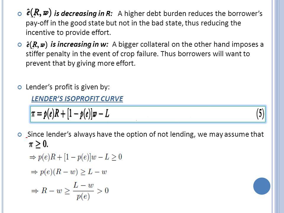 EFFECT OF PARAMETRIC SHIFT IN Z(lenders profit) or V(option value of default).