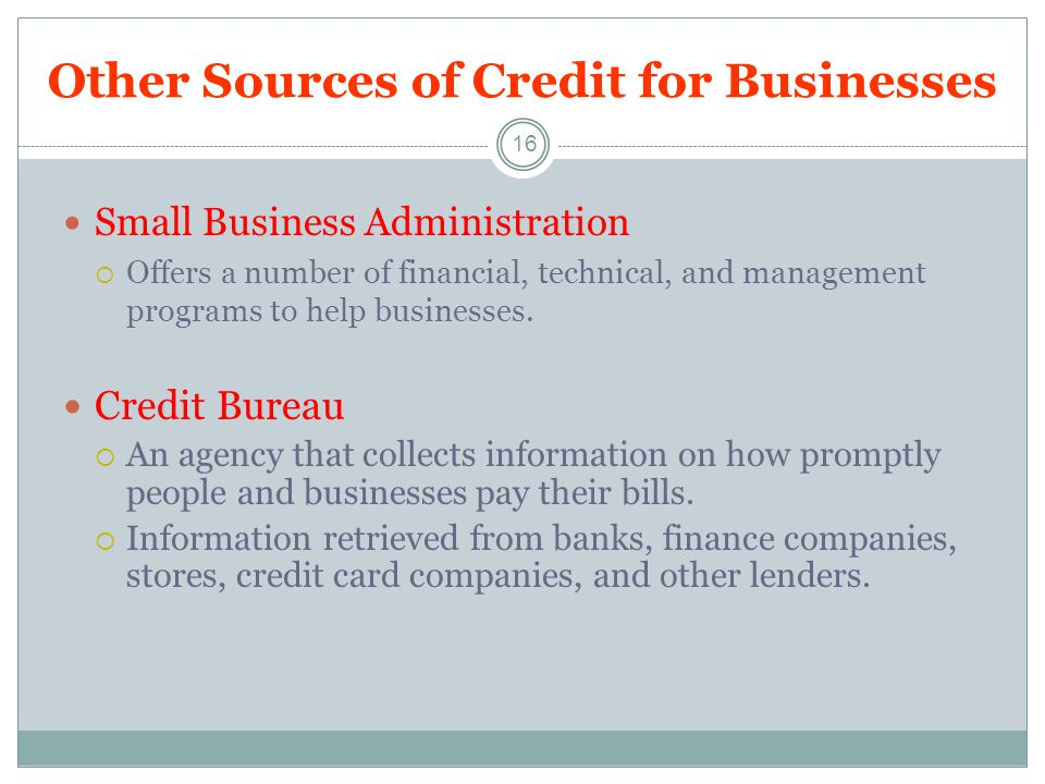 Other Sources of Credit for Businesses 16 Small Business Administration Offers a number of financial, technical, and management programs to help businesses.