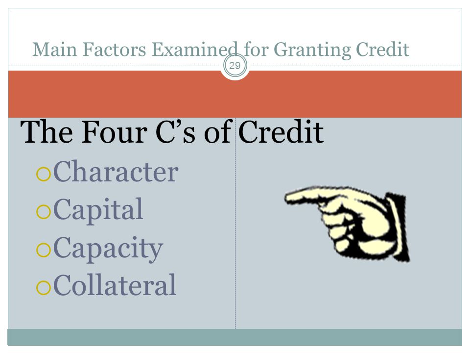 The Four Cs of Credit Character Capital Capacity Collateral 29 Main Factors Examined for Granting Credit