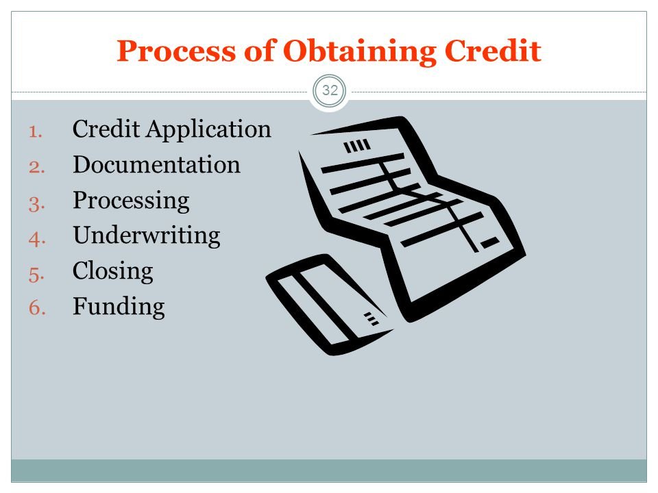 Process of Obtaining Credit 32 1.Credit Application 2.
