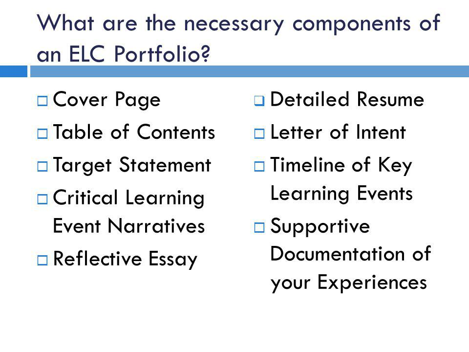 What are the necessary components of an ELC Portfolio.