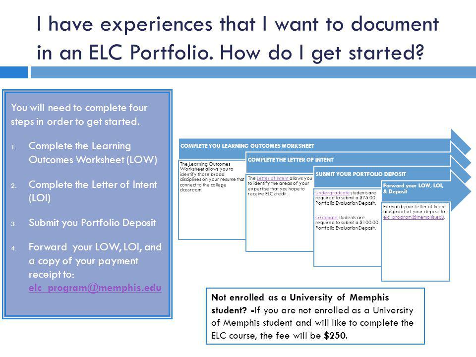 I have experiences that I want to document in an ELC Portfolio.