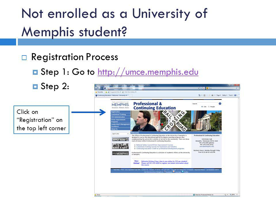 Not enrolled as a University of Memphis student.