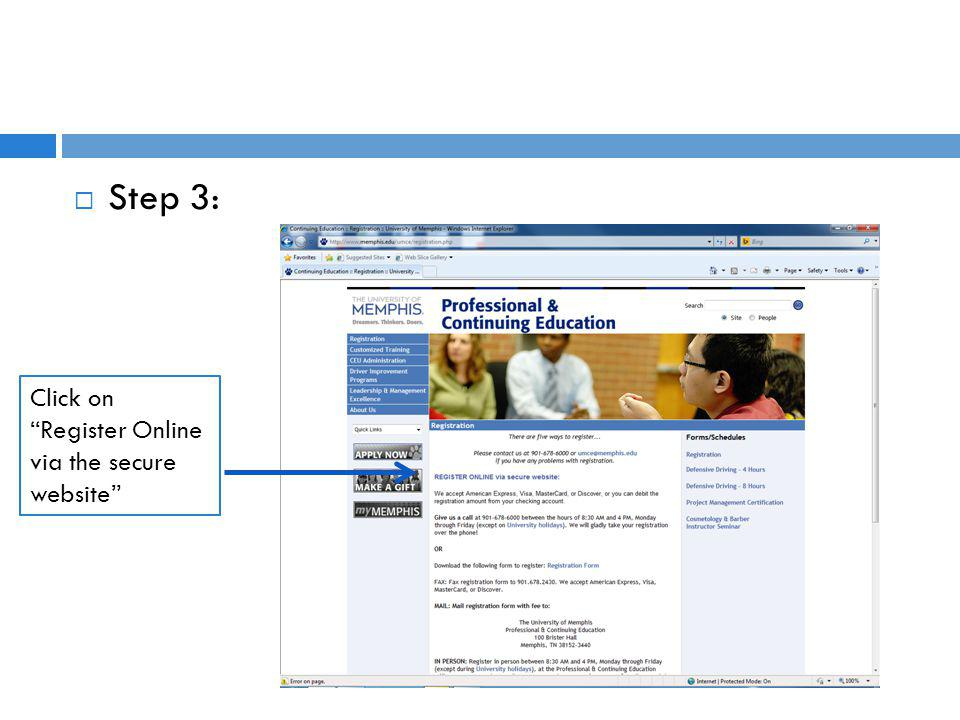 Step 3: Click on Register Online via the secure website