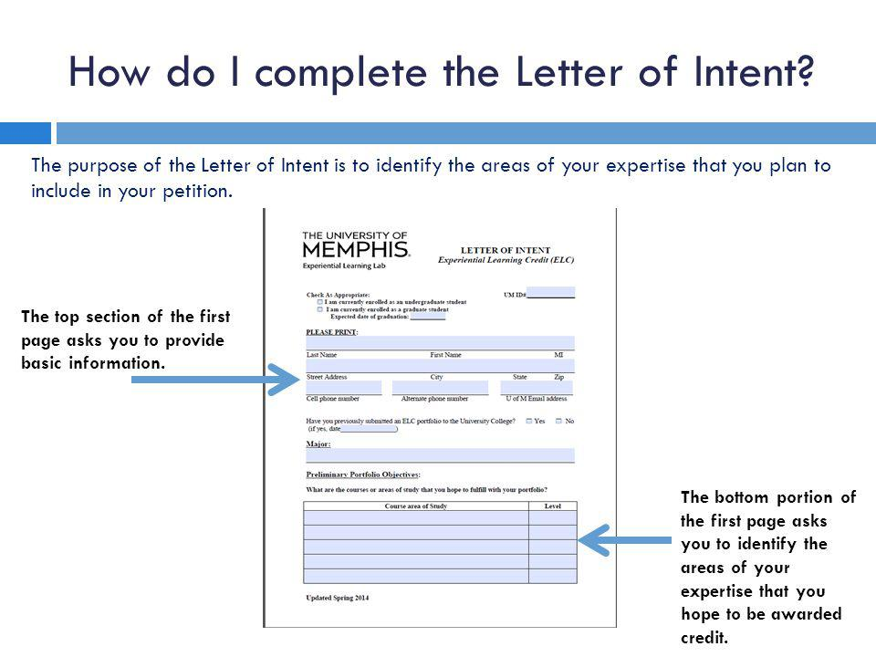 How do I complete the Letter of Intent.