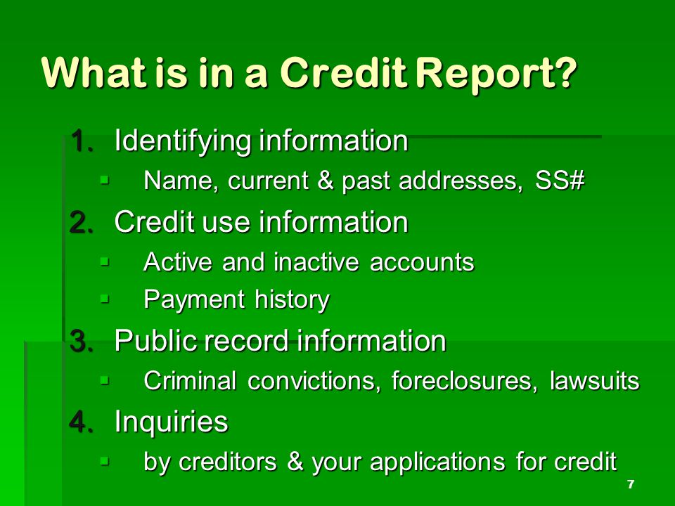 What is in a Credit Report.