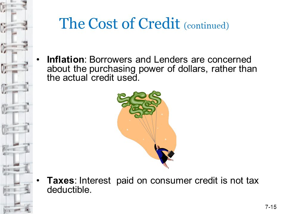 The Cost of Credit (continued) Inflation: Borrowers and Lenders are concerned about the purchasing power of dollars, rather than the actual credit use