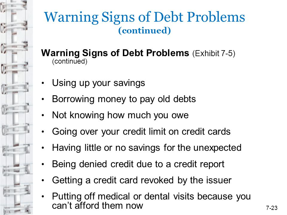 Warning Signs of Debt Problems (continued) Warning Signs of Debt Problems (Exhibit 7-5) (continued) Using up your savings Borrowing money to pay old d