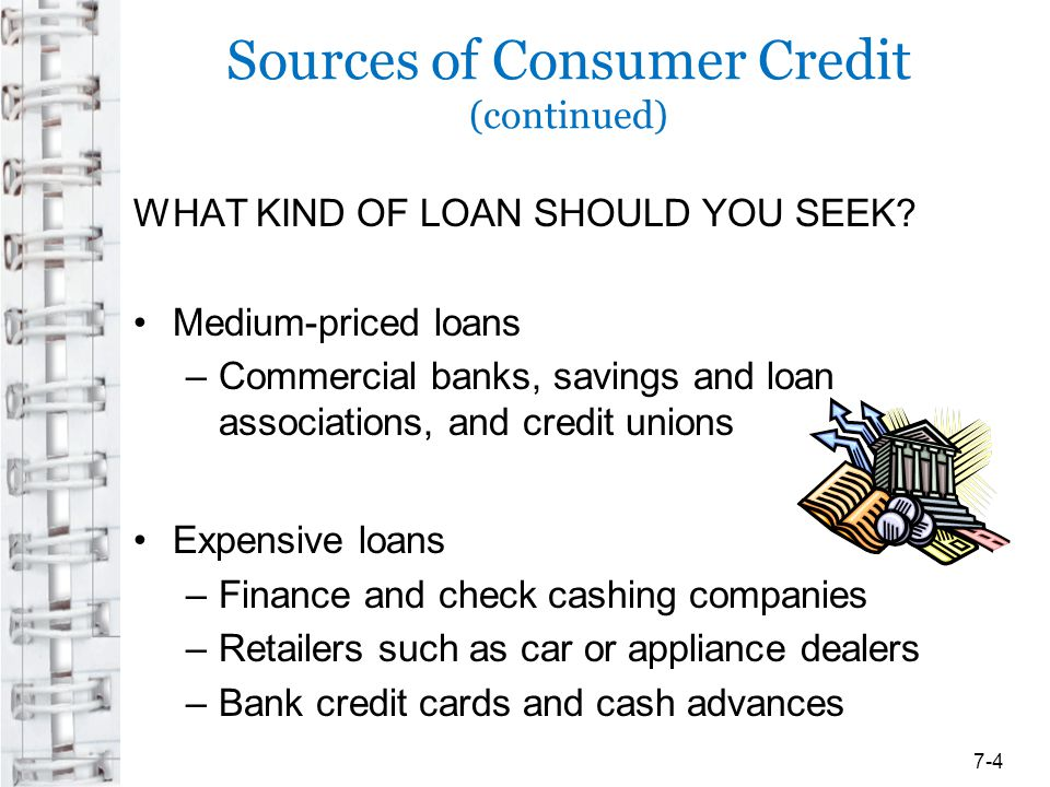 Sources of Consumer Credit (continued) WHAT KIND OF LOAN SHOULD YOU SEEK? Medium-priced loans –Commercial banks, savings and loan associations, and cr