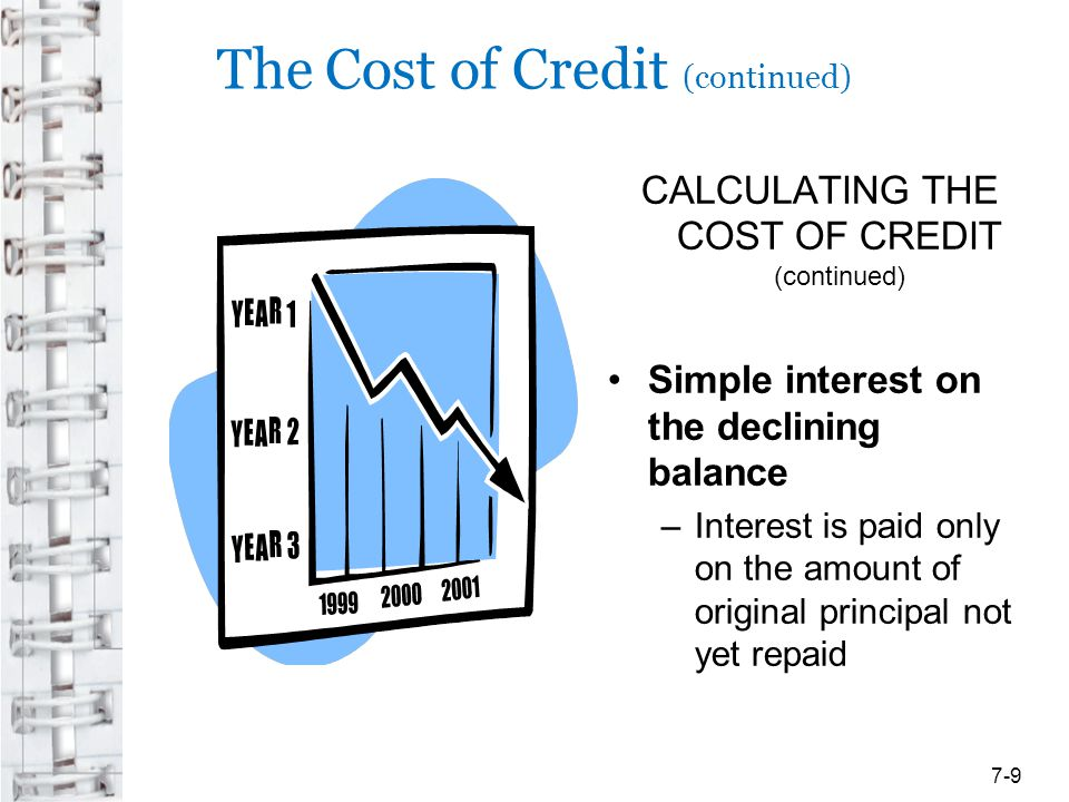 The Cost of Credit (continued) CALCULATING THE COST OF CREDIT (continued) Add-on interest –Interest is calculated on the full amount of the original principal, added to the principal, and the total of both is divided by the number of payments to be made 7-10