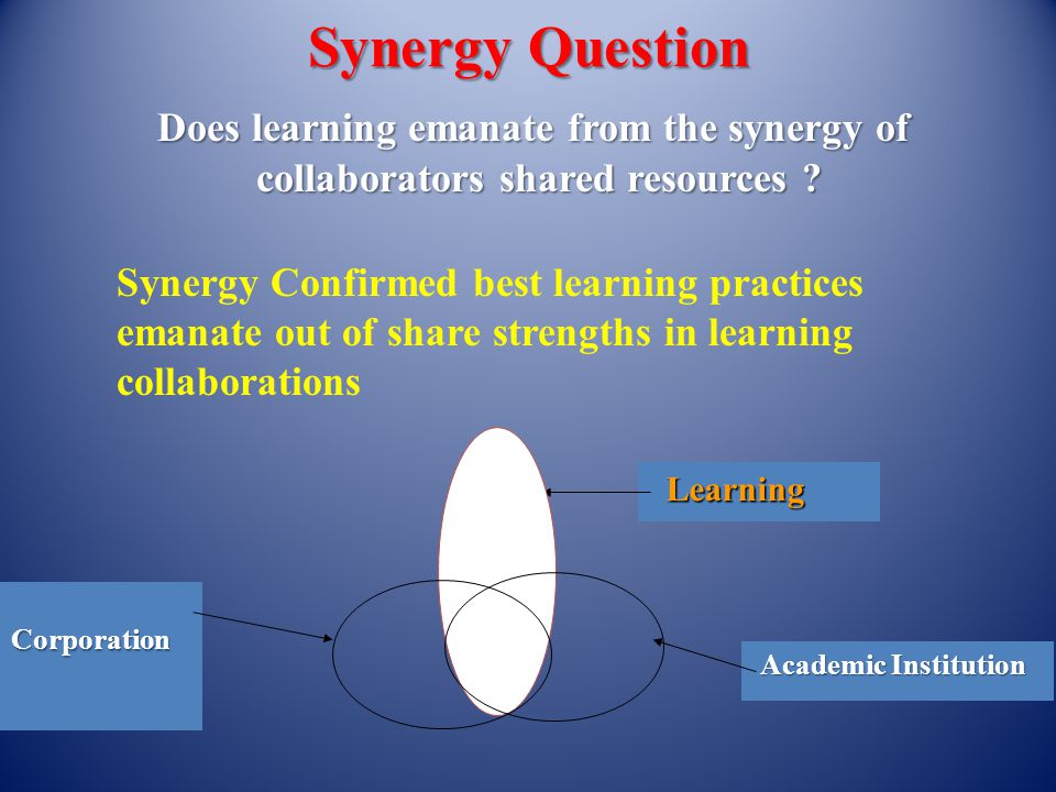 Synergy Question Does learning emanate from the synergy of collaborators shared resources .