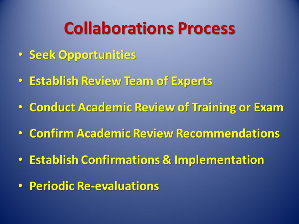 Collaborations Process Seek Opportunities Seek Opportunities Establish Review Team of Experts Establish Review Team of Experts Conduct Academic Review of Training or Exam Conduct Academic Review of Training or Exam Confirm Academic Review Recommendations Confirm Academic Review Recommendations Establish Confirmations & Implementation Establish Confirmations & Implementation Periodic Re-evaluations Periodic Re-evaluations