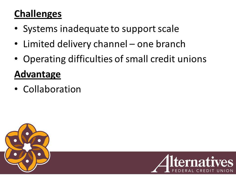 Challenges Systems inadequate to support scale Limited delivery channel – one branch Operating difficulties of small credit unions Advantage Collaboration