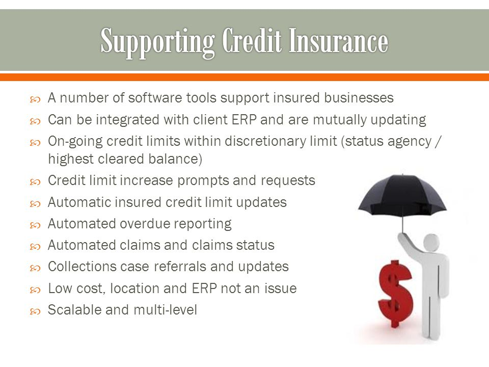 A number of software tools support insured businesses Can be integrated with client ERP and are mutually updating On-going credit limits within discretionary limit (status agency / highest cleared balance) Credit limit increase prompts and requests Automatic insured credit limit updates Automated overdue reporting Automated claims and claims status Collections case referrals and updates Low cost, location and ERP not an issue Scalable and multi-level