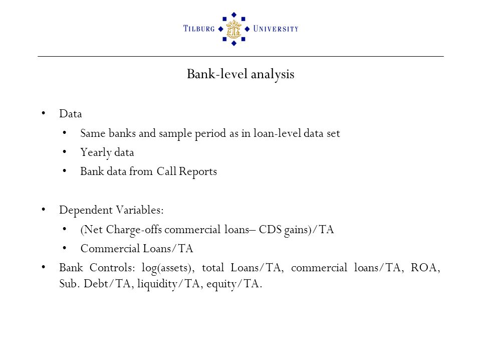 Bank-level analysis Data Same banks and sample period as in loan-level data set Yearly data Bank data from Call Reports Dependent Variables: (Net Charge-offs commercial loans– CDS gains)/TA Commercial Loans/TA Bank Controls: log(assets), total Loans/TA, commercial loans/TA, ROA, Sub.