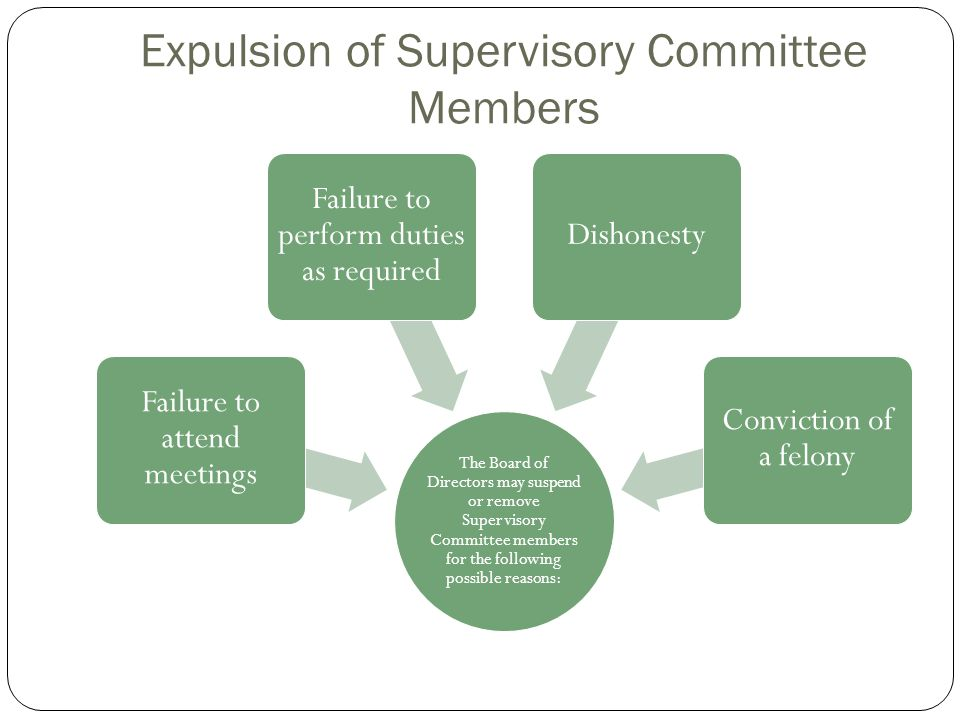 Expulsion of Supervisory Committee Members The Board of Directors may suspend or remove Supervisory Committee members for the following possible reaso