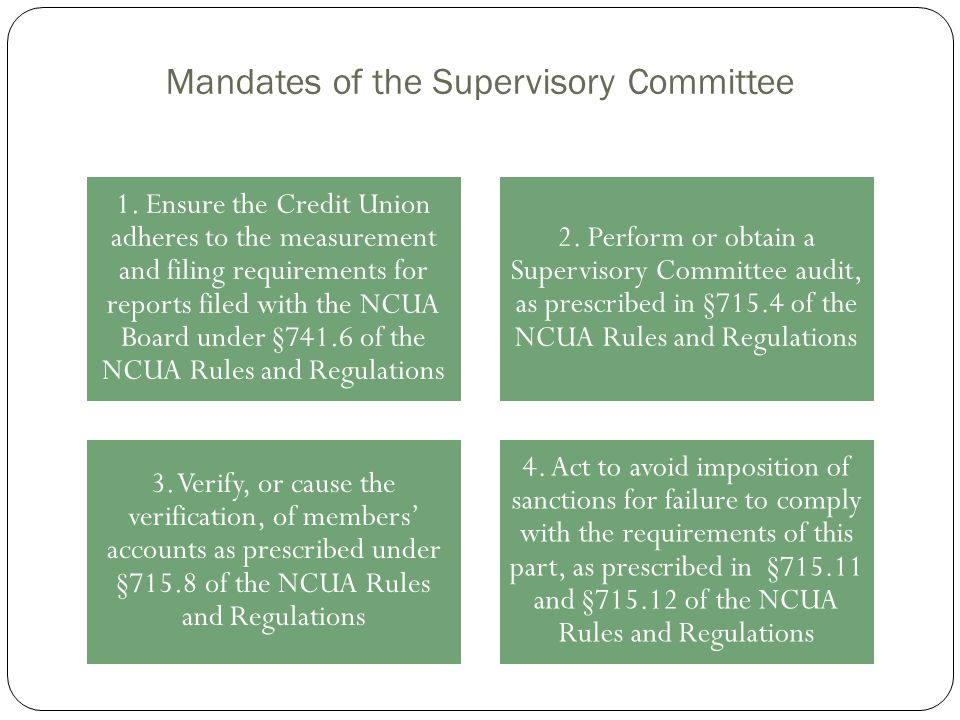 Mandates of the Supervisory Committee 1. Ensure the Credit Union adheres to the measurement and filing requirements for reports filed with the NCUA Bo