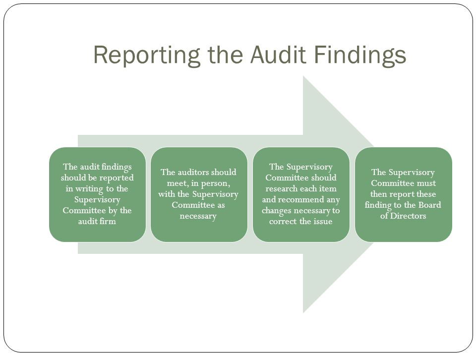 Reporting the Audit Findings The audit findings should be reported in writing to the Supervisory Committee by the audit firm The auditors should meet,