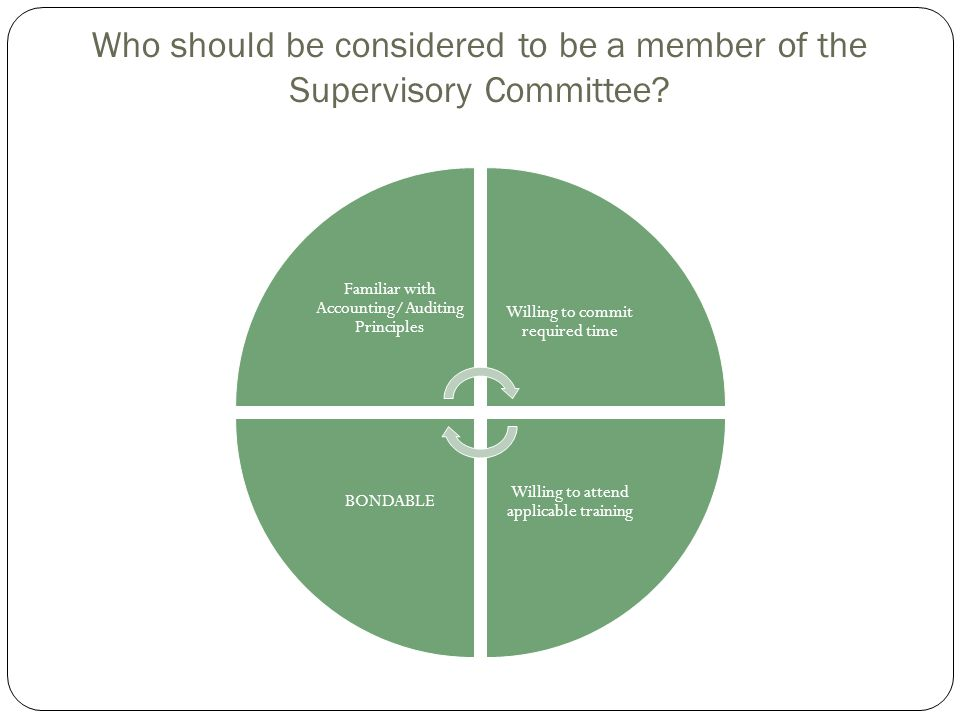 Who should be considered to be a member of the Supervisory Committee? Familiar with Accounting/Auditing Principles Willing to commit required time Wil