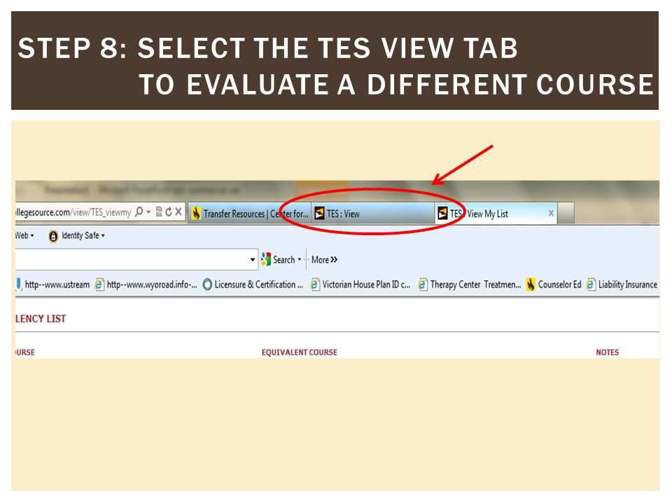 STEP 8: SELECT THE TES VIEW TAB TO EVALUATE A DIFFERENT COURSE