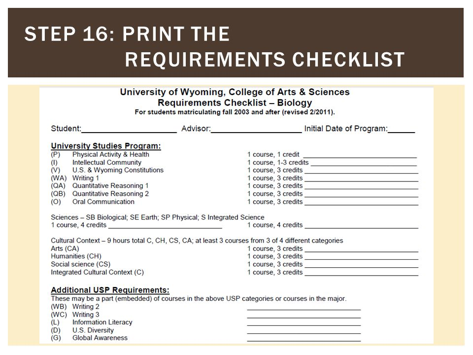 STEP 16: PRINT THE REQUIREMENTS CHECKLIST