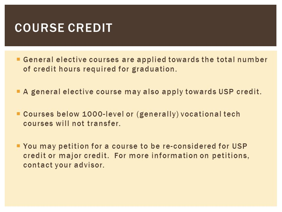 General elective courses are applied towards the total number of credit hours required for graduation.