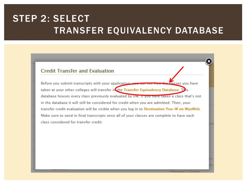 STEP 2: SELECT TRANSFER EQUIVALENCY DATABASE