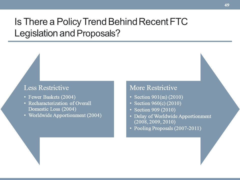 Is There a Policy Trend Behind Recent FTC Legislation and Proposals ? 49 More Restrictive Section 901(m) (2010) Section 960(c) (2010) Section 909 (201