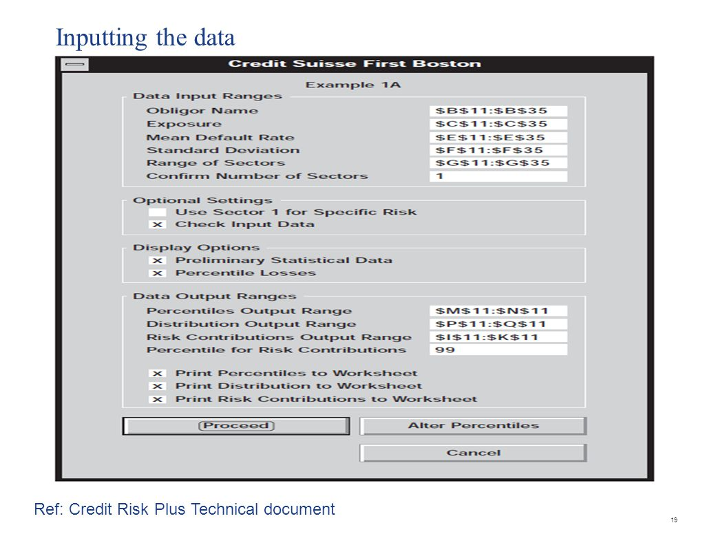 Inputting the data 19 Ref: Credit Risk Plus Technical document