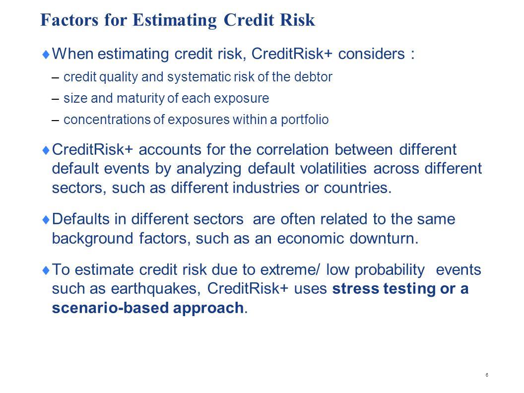 Managing Portfolios CreditRisk+ incorporates all the factors that determine credit risk into a single measure.