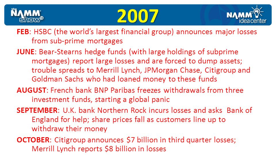 2007 FEB: HSBC (the worlds largest financial group) announces major losses from sub-prime mortgages JUNE: Bear-Stearns hedge funds (with large holding
