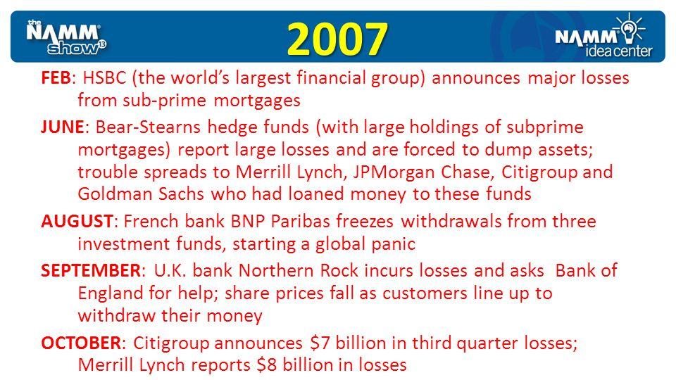 2008 JAN: Merrill Lynch reports $12 billion in losses, Swiss bank UBS reports $14 billion in losses, Citigroup reports $18 billion in losses for the 4th quarter of 2007 FEB: U.K.