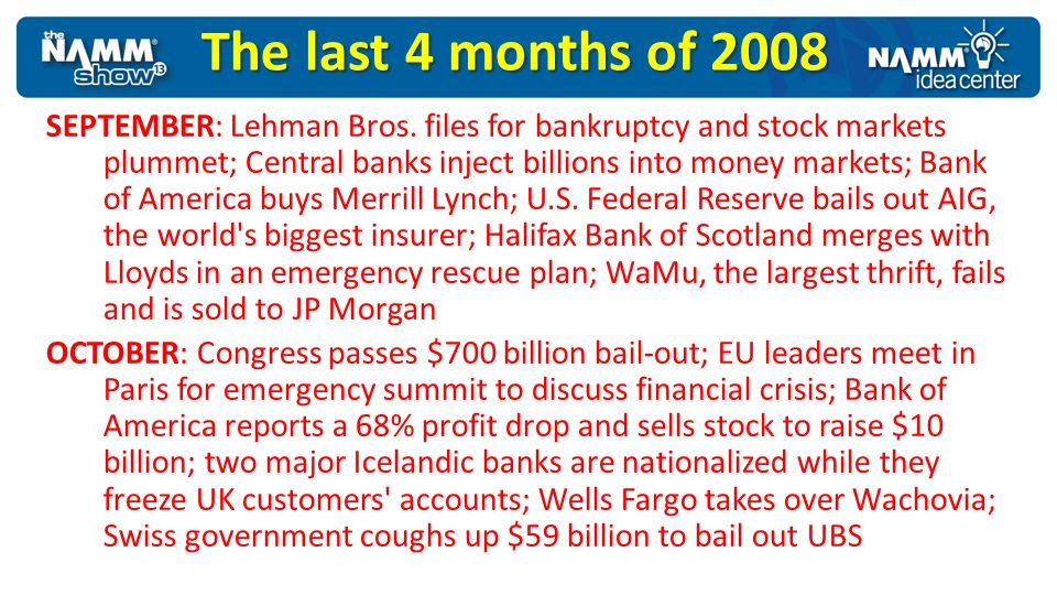 The last 4 months of 2008 SEPTEMBER: Lehman Bros. files for bankruptcy and stock markets plummet; Central banks inject billions into money markets; Ba
