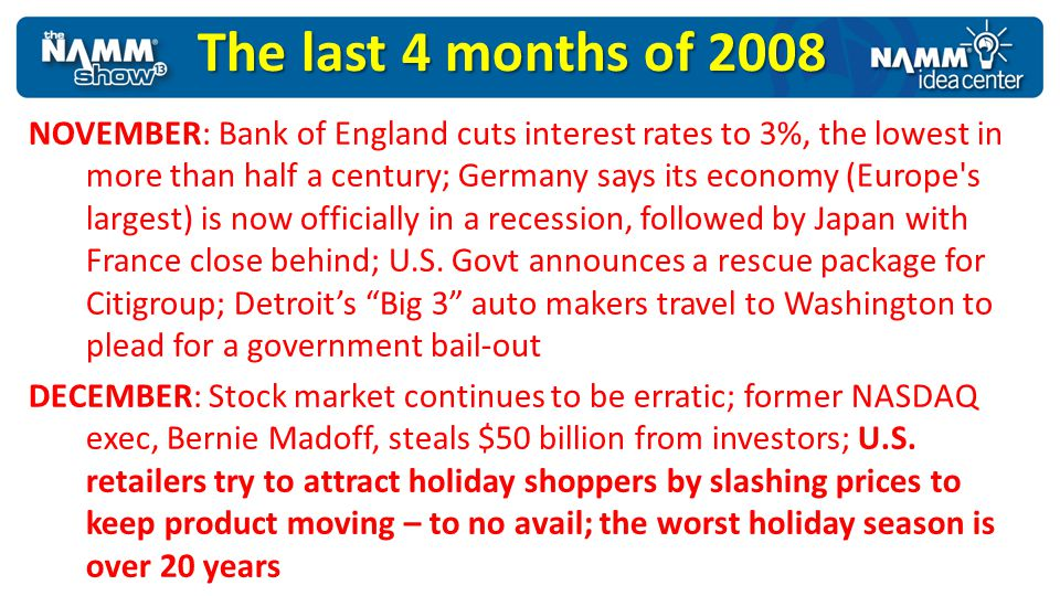 NOVEMBER: Bank of England cuts interest rates to 3%, the lowest in more than half a century; Germany says its economy (Europe's largest) is now offici