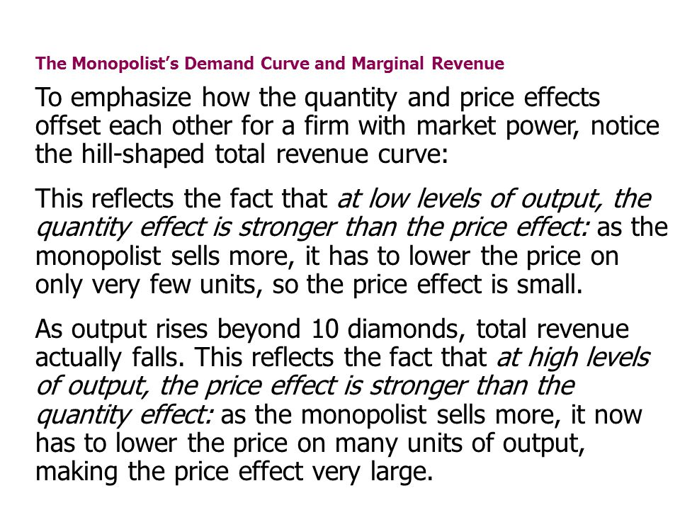 The Monopolists Demand Curve and Marginal Revenue To emphasize how the quantity and price effects offset each other for a firm with market power, noti