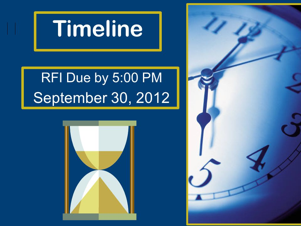 Timeline RFI Due by 5:00 PM September 30, 2012