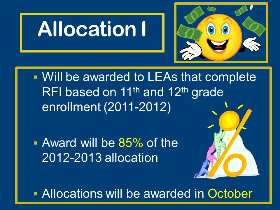 Allocation I Will be awarded to LEAs that complete RFI based on 11 th and 12 th grade enrollment (2011-2012) Award will be 85% of the 2012-2013 allocation Allocations will be awarded in October