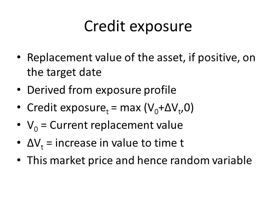 Credit exposure Replacement value of the asset, if positive, on the target date Derived from exposure profile Credit exposure t = max (V 0 +ΔV t,0) V 0 = Current replacement value ΔV t = increase in value to time t This market price and hence random variable