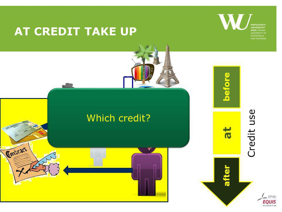 AT CREDIT TAKE UP after at before Credit use Which credit