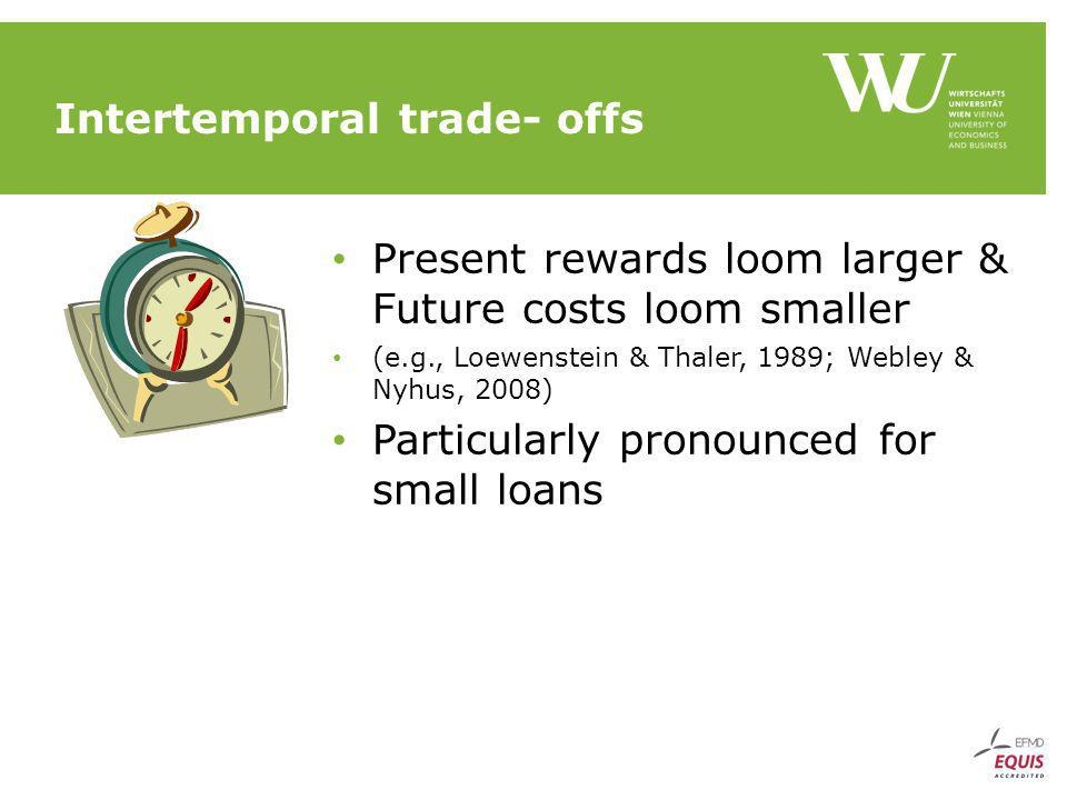 Intertemporal trade- offs Present rewards loom larger & Future costs loom smaller (e.g., Loewenstein & Thaler, 1989; Webley & Nyhus, 2008) Particularly pronounced for small loans
